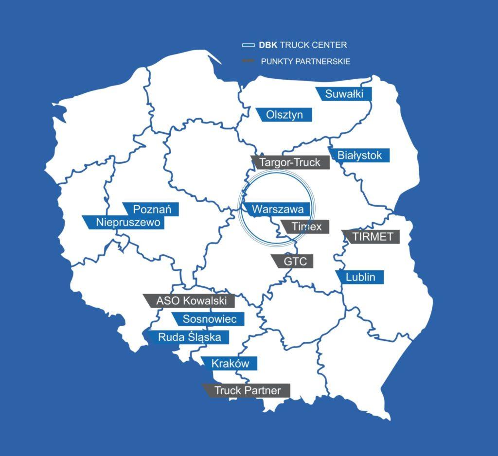 Mapa oddziałów DBK Truck Center